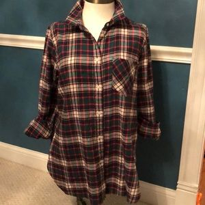 J.Crew evergreen plaid flannel shirt size 8